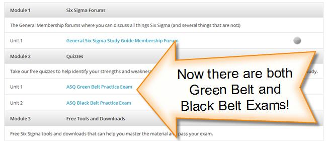 six sigma green belt and black belt exams